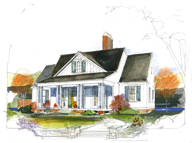 front exterior 3 quarter front exterior main level floor plan - Exterior House Plans