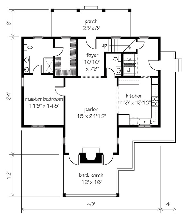 Garden home cottage southern living house plans for Garden home floor plans