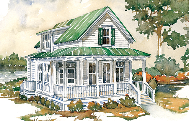 Hunting island cottage southern living house plans for Small southern cottage house plans