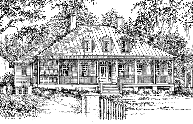 New lafayette parish house southern living house plans for French colonial house plans