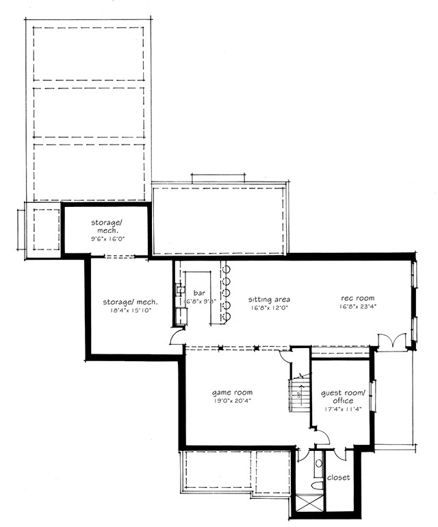 lower level floor plan - 1919 House Plans