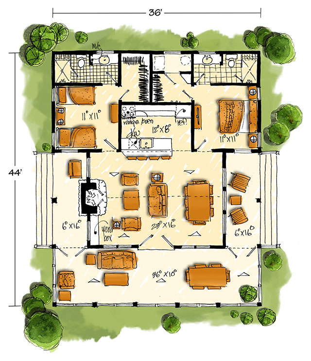 New bunkhouse southern living house plans Southern living garage apartment plans