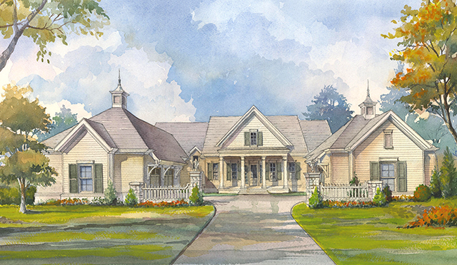 Grove manor southern living house plans for Manor farm house plan