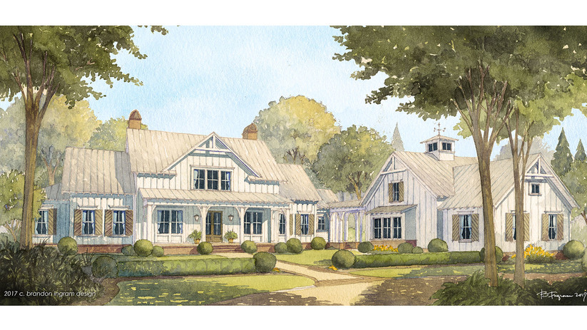Cedar river farmhouse southern living house plans for Farmhouse designs photos
