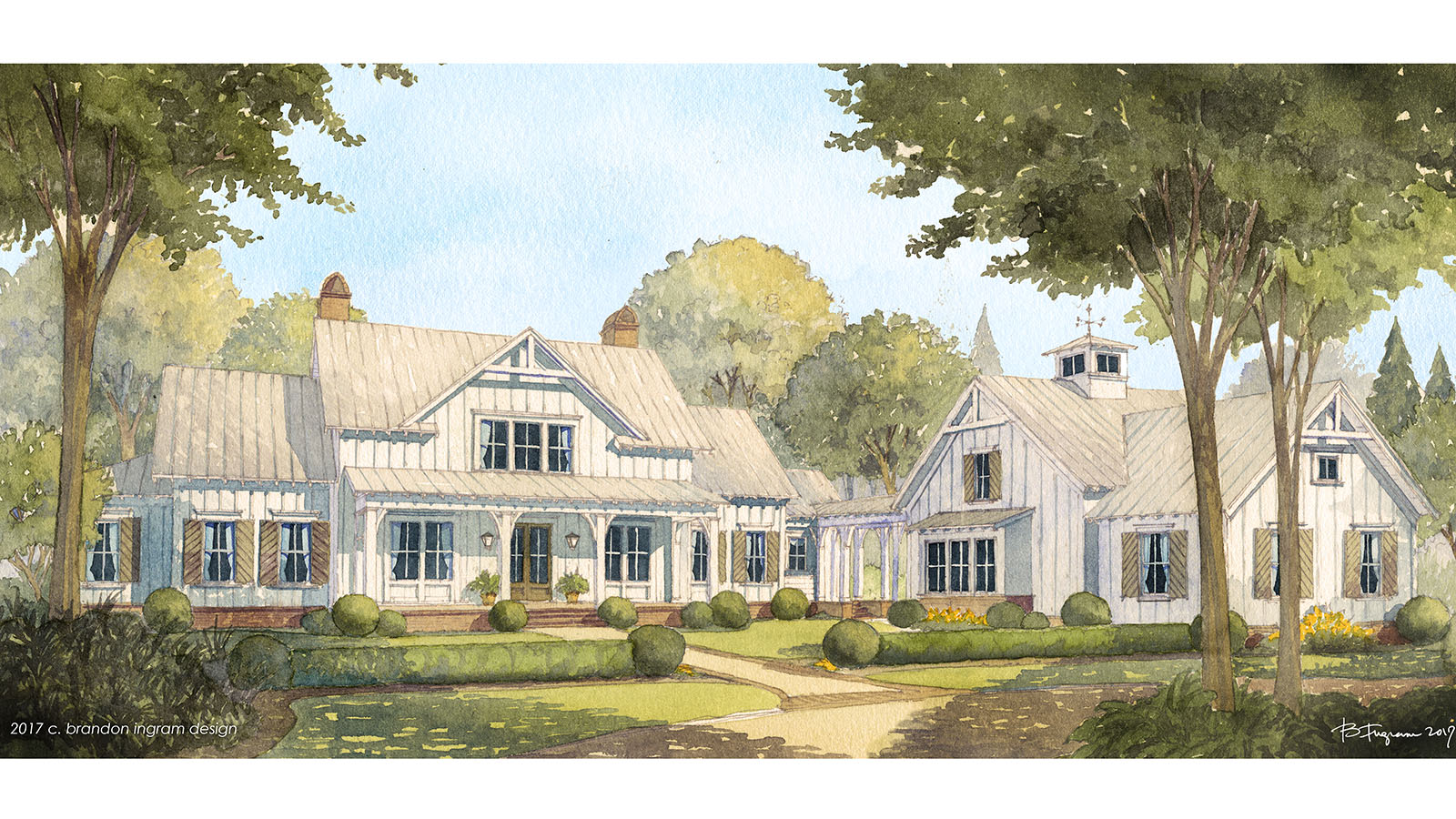Modern farmhouse designs house plans southern living for Large farmhouse house plans