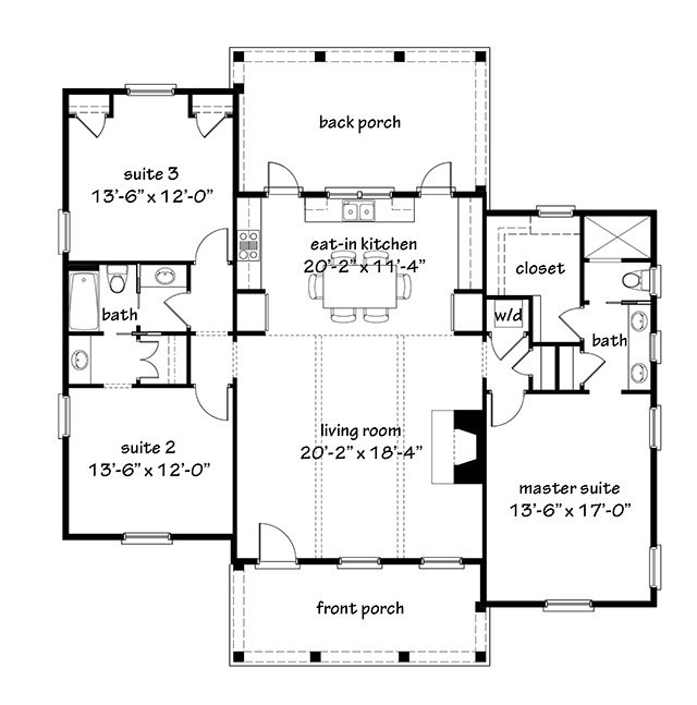 Flint cottage southern living house plans for Southern living house plans with keeping rooms