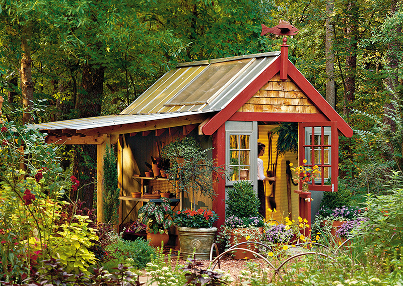 Trimmed with cedar shake siding and a cozy porch, this handy shed's exterior exudes rustic charm. Skylights fill the interior with natural light and warmth, making it a great work environment for all your hobbies.