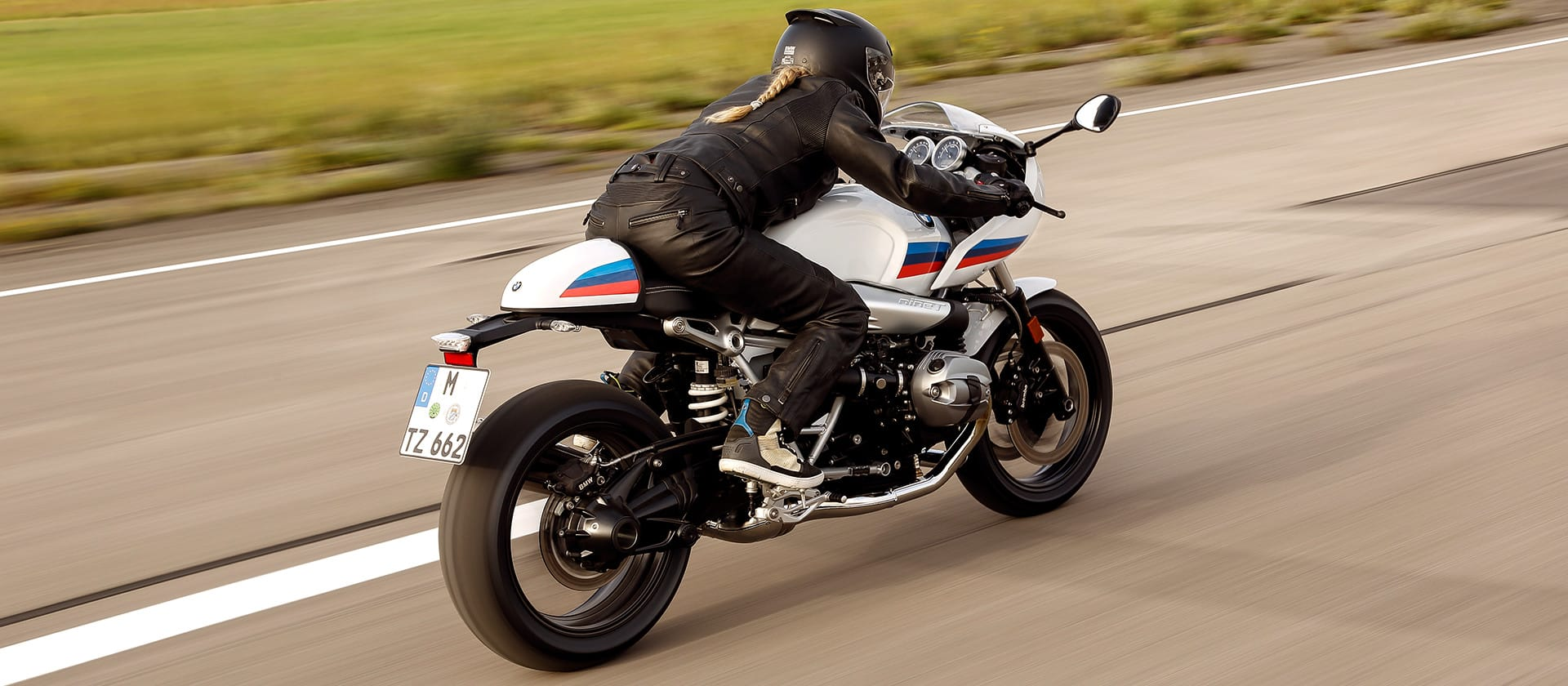BMW R nineT racer shown from behind