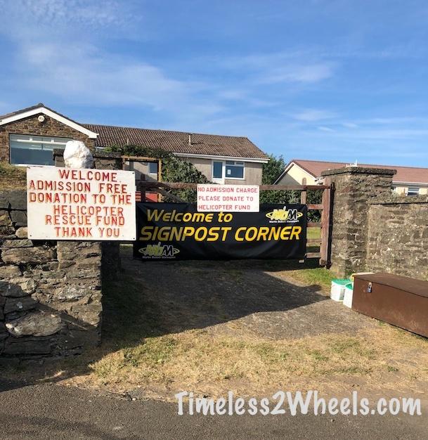 Signpost corner on the Isle of Man TT course