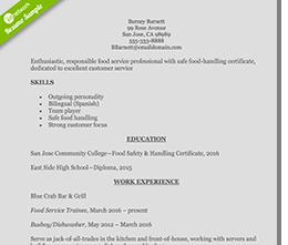 restaurant-server-resume
