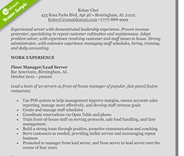 food-service-resume