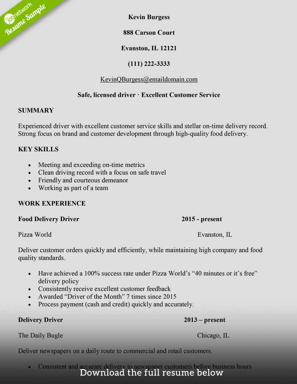 Driver Resume In Word Format