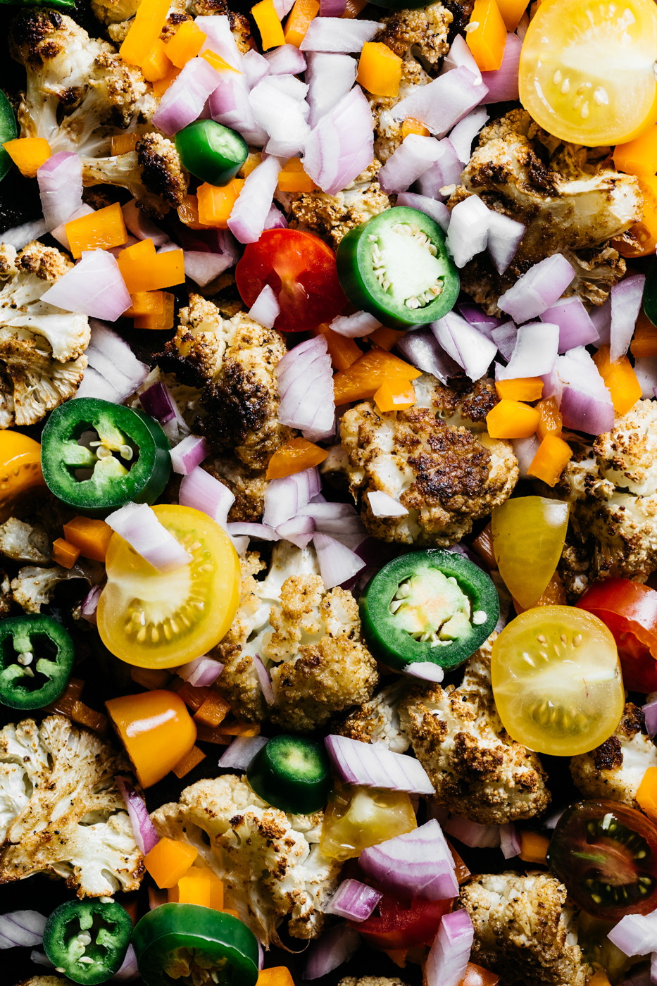 loaded cauliflower nachos, cauliflower nachos, low carb nachos, vegetarian appetizers, pride party food, rainbow food