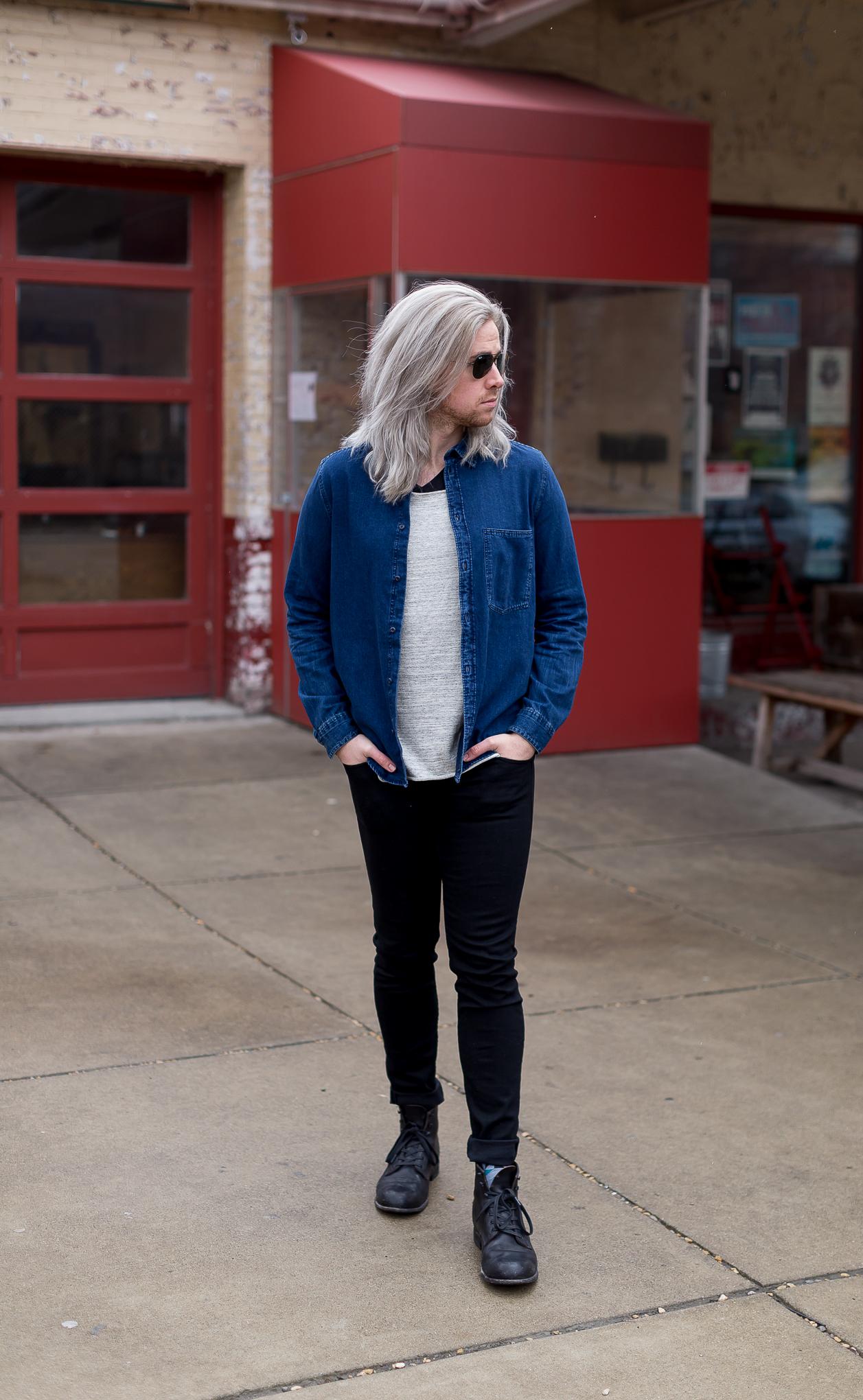 mens fashion blogger, mens lifestyle blogger, hm denim shirt, rag and bone skinny jeans, mens blog