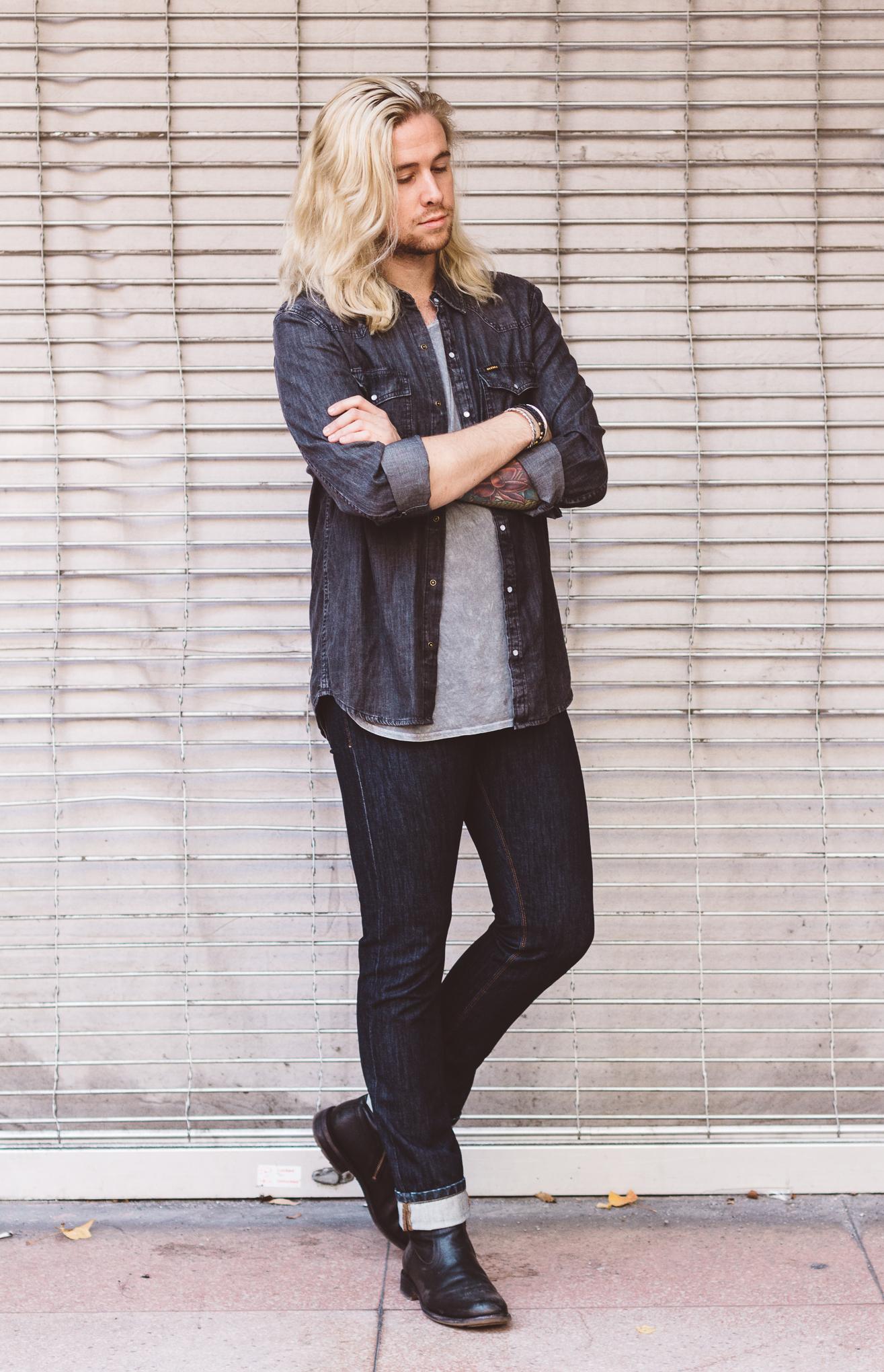urban outfitters mens tshirts, big star denim, mens premium denim, platinum blonde mens hair, guys with long hair
