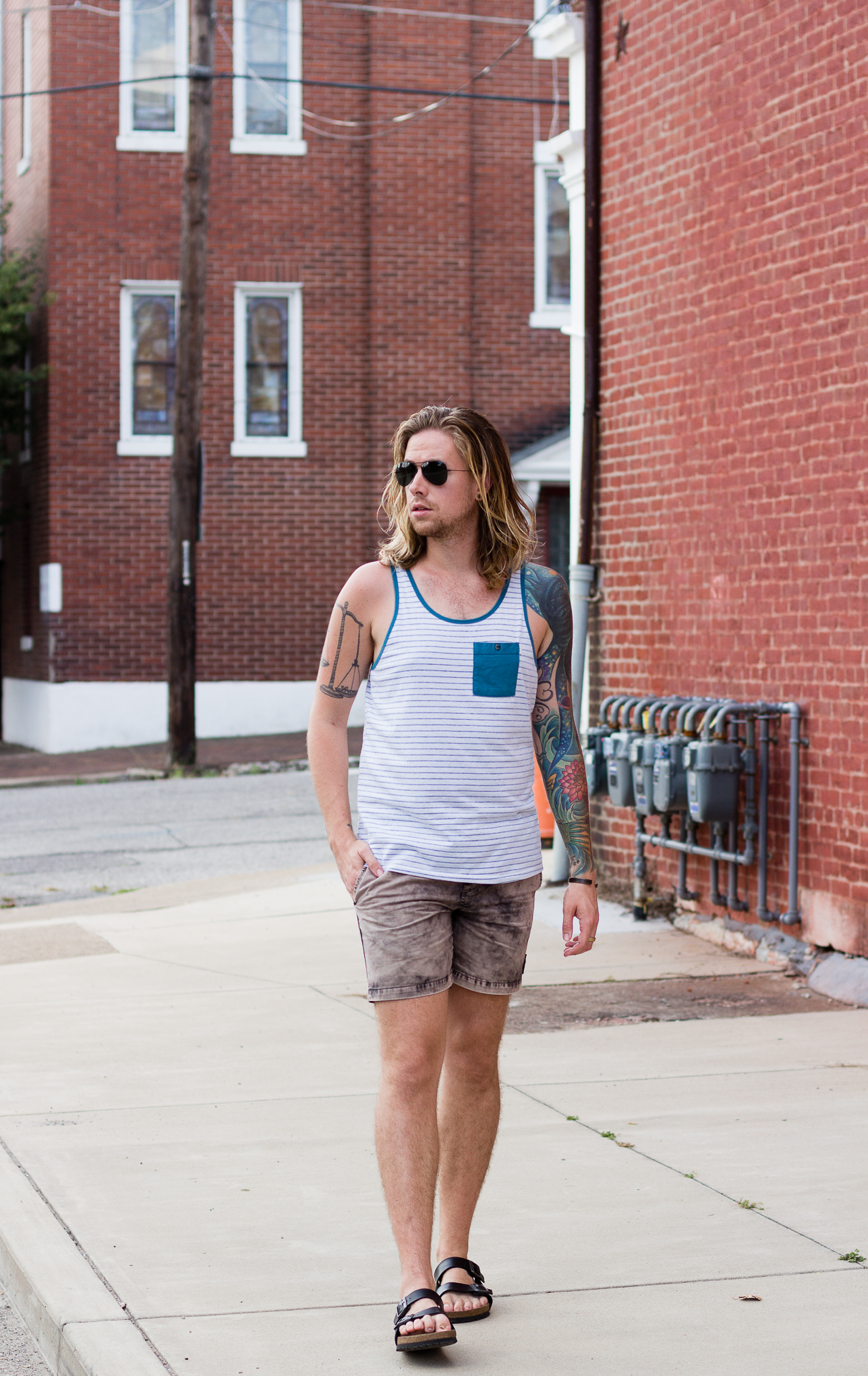 ambig clothing, rvca, mens tank top, birkenstock sandals, mens fashion blog