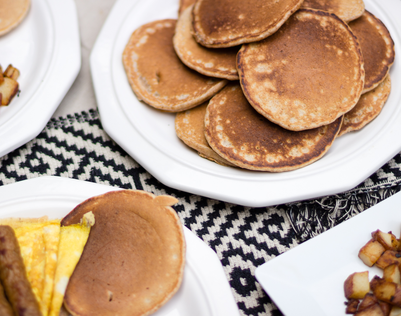 whole wheat breakfast pancakes, pancakes, easy to make breakfast, johnsonsville breakfast sausage