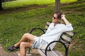 The Kentucky Gent in Aeropostale Chambray Shirt, Aeropostale Striped Shorts, Ray-Ban Wayfarers, and Zara Sandals.