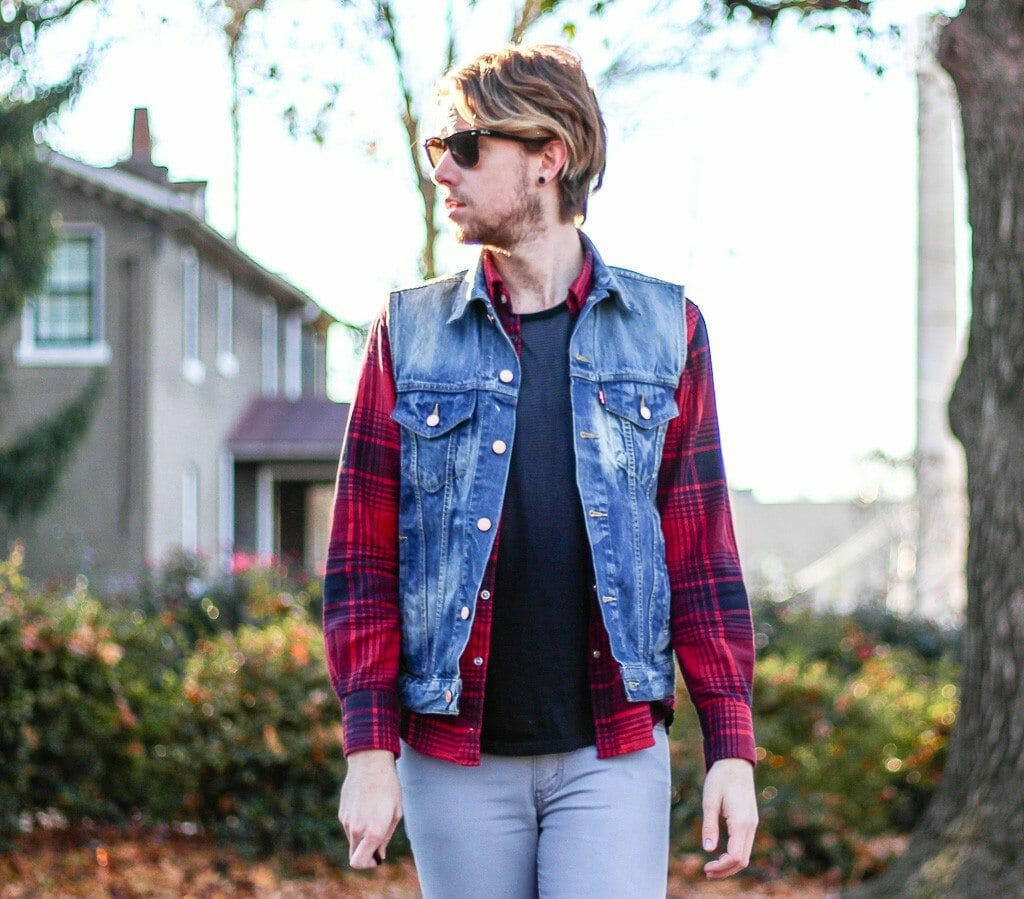 The Kentucky Gent in Camo Scout by Etnies, Kill City T-Shirt, Levis Denim Vest, JACHS Plaid Shirt, Levis 511 Jeans, and Ray-Ban Wayfarers