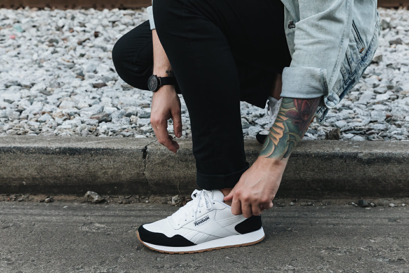 Fall Casual Weekend Out with Reebok Classic Harmon Sneakers from DSW