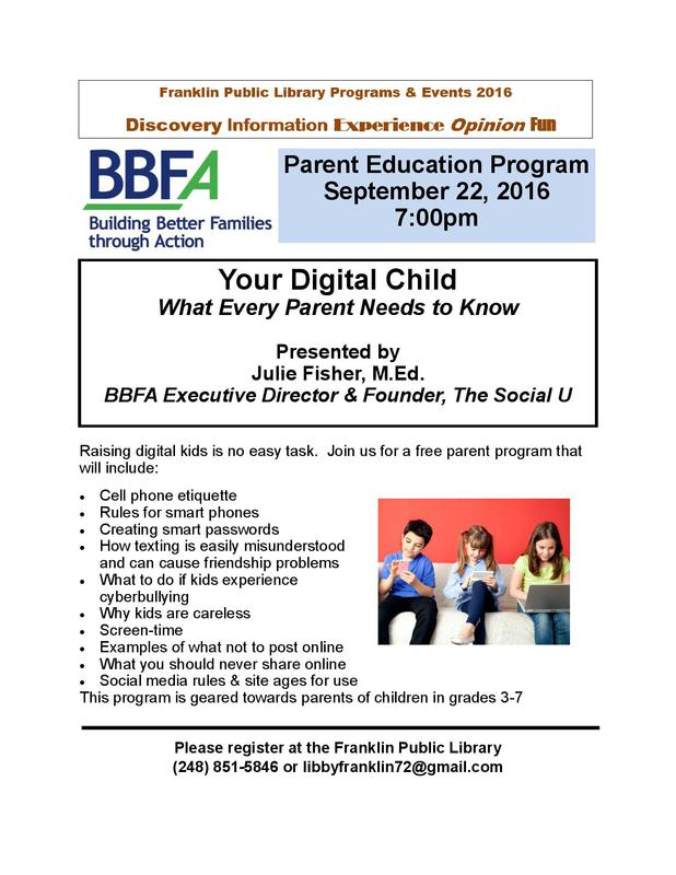 Your Digital Child: What Every Parent Should Know at the Franklin Public Library