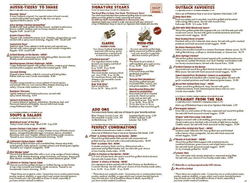 picture relating to Outback Steakhouse Printable Menu called Place Price ranges For British isles Information: Costs For Outback Steakhouse Menu