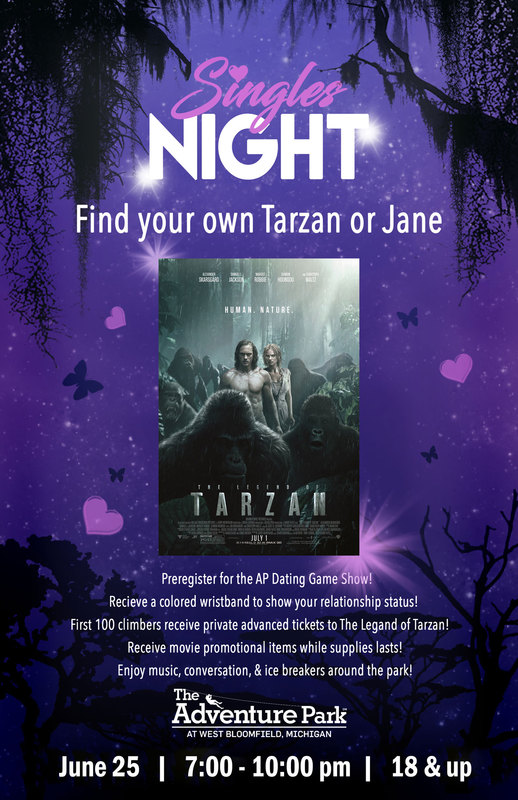 Find your Tarzan or Jane at the Adventure Park Singles Night