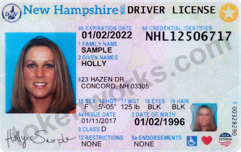 New NH Driver's License and ID card design - front view