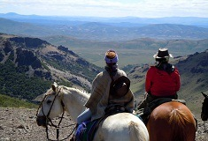 Horse riding in the Andes mountains