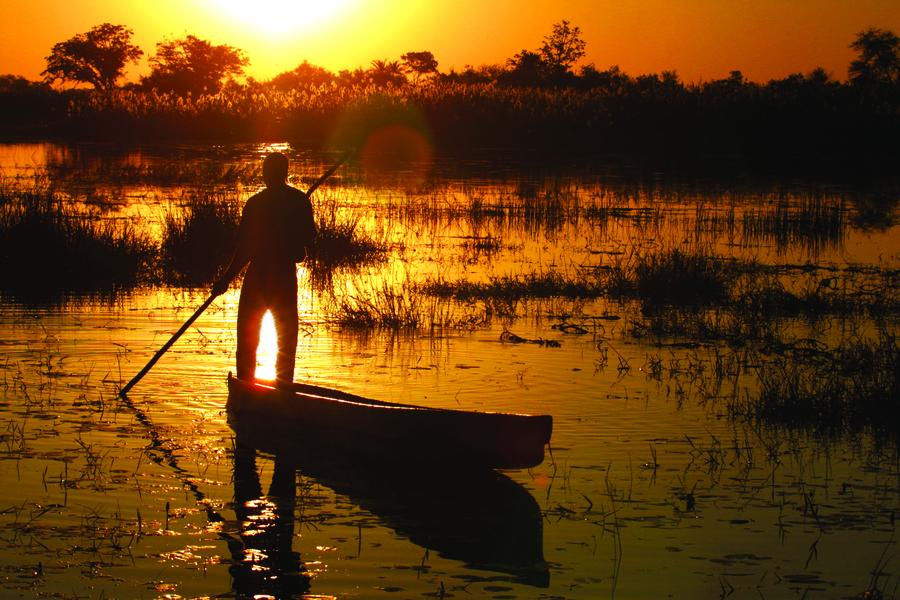 Coucher de soleil sur le Delta de l'Okavango.