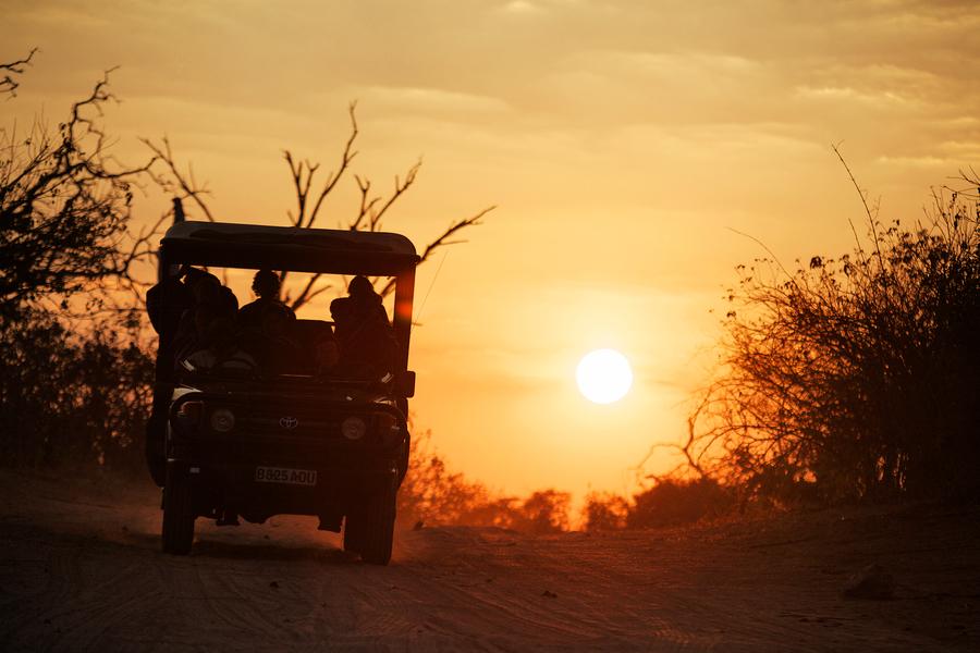 Safari en 4x4 au coucher du soleil au Botswana.