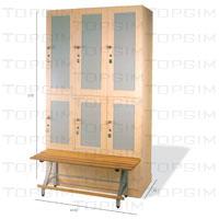 Conjunto de 3 cacifos Fit Interiors linha Style 2 portas + banco