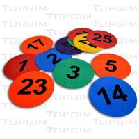 Conjunto de bases coloridas em borracha com números de 1 a 25