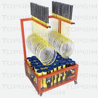 Carro para transporte e arrumação de raquetes e voadores de badminton