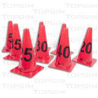 Conjunto de 8 cones numerados de 5 a 40