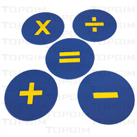 Conjunto de 4 bases de borracha com símbolos matemáticos