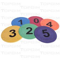 Conjunto de 6 discos numerados de 0 a 5