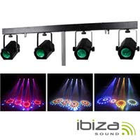 Barra 1.2m c/ 4 projectores Led RGBAW Total 28 Leds IBIZA