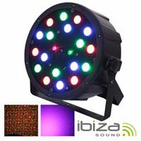 Projector Par c/18 Leds RGB + Laser Comando MIC DMX IBIZA