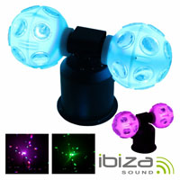 Projector Luz c/2 Bolas Rotativas 4 Leds RGB 9w IBIZA