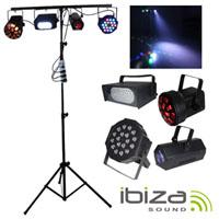 Conjunto 4 Projectores Led C/ Strobe e Suporte IBIZA