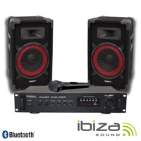 "Pack Amplificador Bluetooh / 2 Colunas 8"" 180W IBIZA"