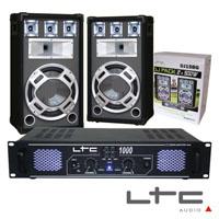 "Pack Amplificador 2x500W 19"" 2 Colunas 3 vias 15"" 800W max LTC"