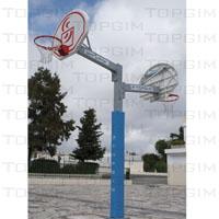 Conjunto completo de basquetebol misto composto por: poste, tabela, aro e rede