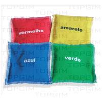 Conjunto de 4 sacos em algodão com cores: amarelo, vermelho, verde e azul