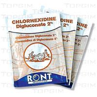 Lote de 10 compressas de clorexidina.