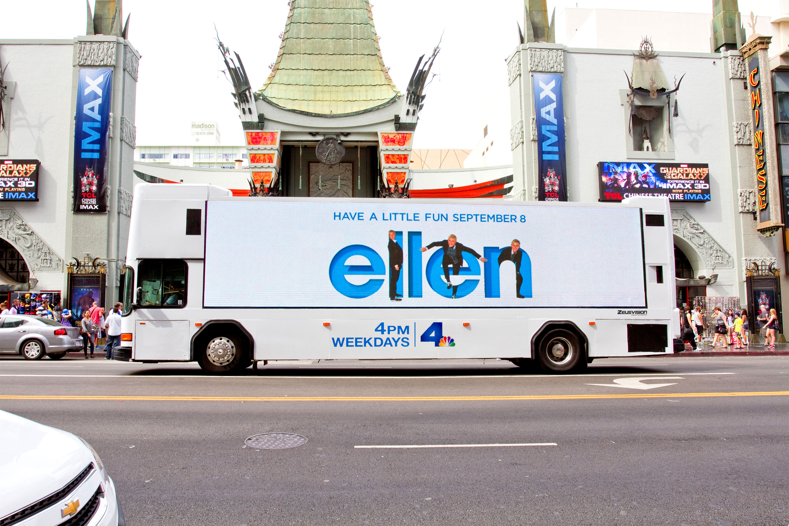 Zeusvision bus promoting Ellen on Hollywood Blvd.