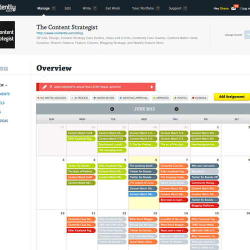 Contently Platform Dashboard