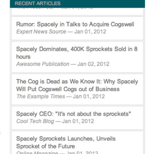 Recent Articles Widget