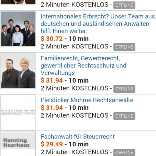 AirPersons Android App screenshot 2 (German)